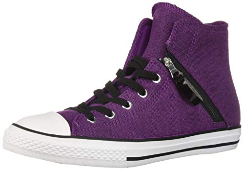 k Taylor All Star Pull Zip High Top Sneaker, ICON Violet/Black/White, 4 M US Big Kid ()