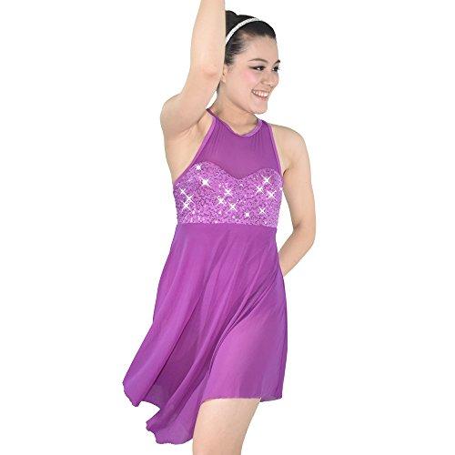 MiDee Illusion Sweetheart Sequines Tank Top Trianglar Cut Skirt Lyrical Dress Dance Costume (Top Fancy Dress Costumes)