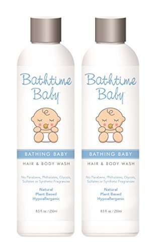 Bathtime Baby Natural Body Wash & Shampoo – Toxin Free, Sulfate Free, Paraben Free, No Artificial Fragrances, Hypoallergenic – 8.5 oz (2-Pack) Anti Irritant Soothing Moisturizer
