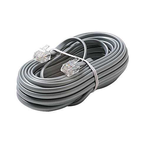 - 15' FT Telephone Cord Cable Flat RJ12 Silver Satin 6 Conductor Line Telephone Cord with Plug Connectors Each End Modular 6P6C RJ12 Phone Connect RJ-12 Communication Wire Extension Cable