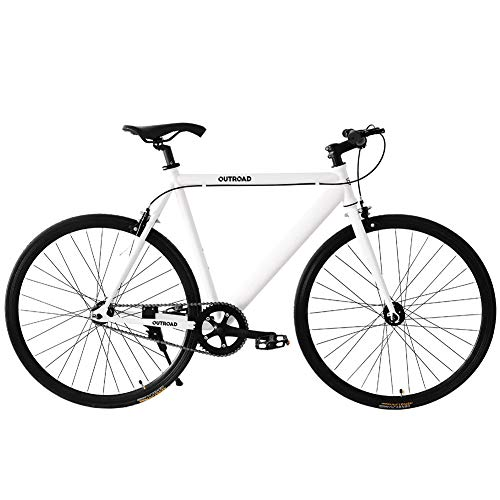 Max4out Fixed Gear Bikes Single Speed Urban Fixie Road Bike 700 cc Track Bicycle White