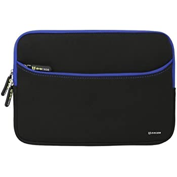 Laptop Sleeve Evecase 11.6 inch Neoprene Padded Slim Sleeve Case Bag with Exterior Accessory Pocket for Notebook Chromebook Macbook Air iPad Pro 12.9 New Surface Pro 2017, Pro 4/ 3 - Black Blue Trim