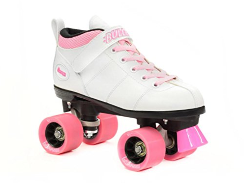 Chicago Bullet White Speed Skates - Chicago Speed Skates - Pink Laces by Chicago Skates