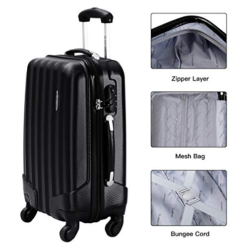 Goplus 3 Pcs Luggage Set ABS Hardshell Travel Bag Trolley Suitcase w/TSA Lock (Black)