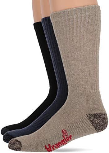 Wrangler Men's Cotton Cushion Work Boot Crew Socks 3 Pair Pack, Assorted, Large