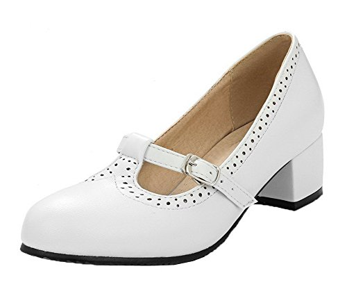 AalarDom Women's Round-Toe PU Low-Heels Pull-On Solid Court Shoes, White, -