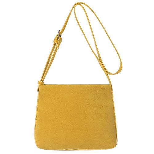 Suede Mini Bag - Small Crossbody Cellphone Shoulder Bag Haytijoe Roomy Zipper Pocket Purses and Handbags for Women(Yellow)