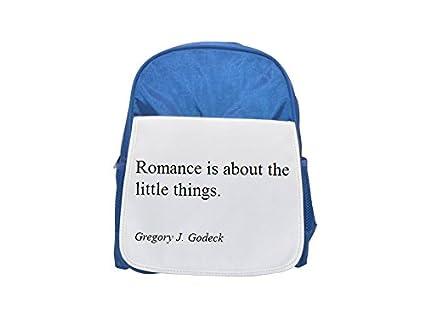 Gregory J. Godeck Romance es acerca de las pequeñas cosas. Mochila azul infantil estampada