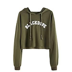 SweatyRocks Women's Letter Print Long Sleeve Crop Top Sweatshirt Hoodies
