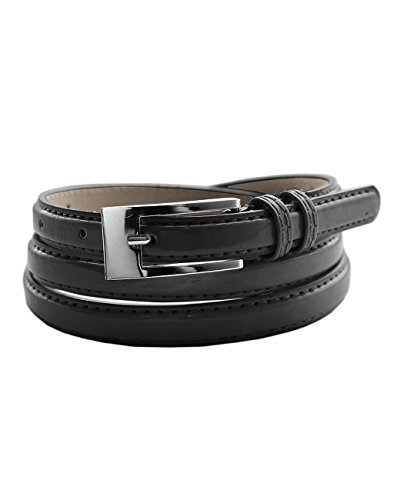 EURO Women's Skinny Narrow Solid Color Genuine Leather Belt - LBU251A - Black - Medium - Skinny Black Belt
