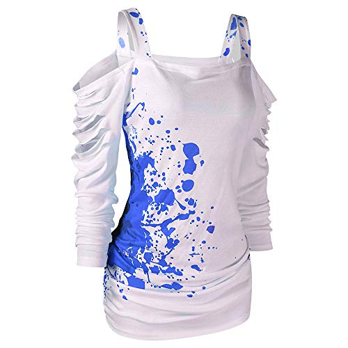 CharMma Women's Cold Shoulder Ladder Cut Out Blood Splatter Halloween T-Shirt (Blue, L) -