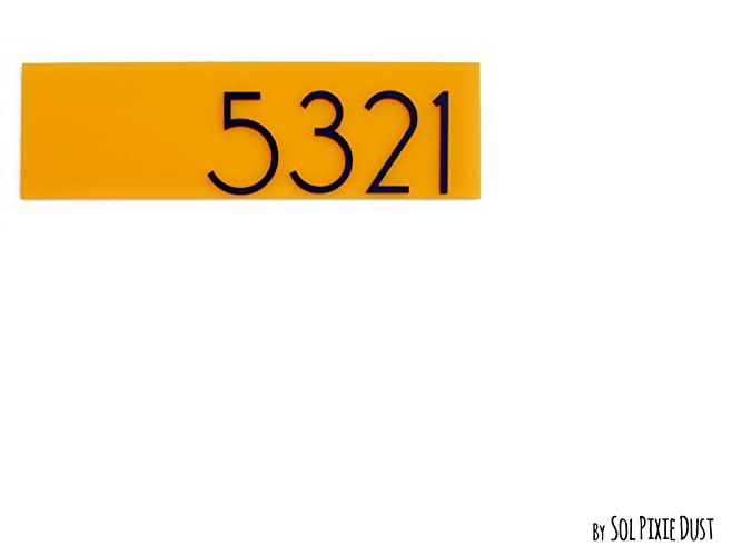 Modern Apartment Door Numbers Plague, Yellow Acrylic   Contemporary Home  Number Sign