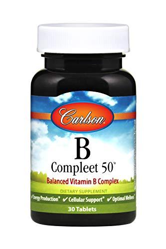 Carlson - B Compleet 50, Balanced Vitamin B Complex, Energy Production, Cellular Support & Optimal Wellness, 30 Tablets (B-50 Balanced)
