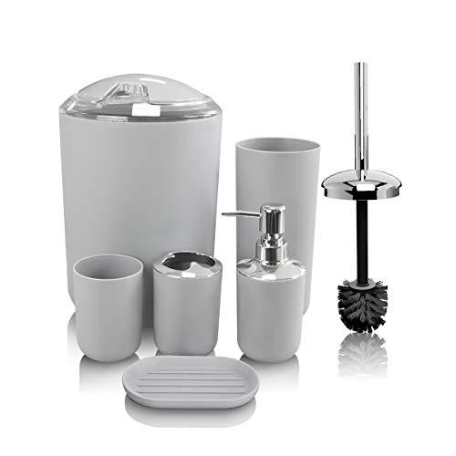 6 Pcs Plastic Bathroom Accessories Set Cup Soap Dispenser Dish Toilet Brush Trash Can Toothbrush Holder,Beige