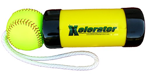 The Composite Xelerator Fastpitch Softball Pitching Training Aid and Warm Up Tool with 12 Inch Premium Leather Indoor Ball for Improved Grip