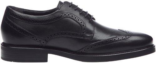 Geox UOMO LONDRA U1385M00043C9999 - Zapatos de cordones de cuero para hombre Negro