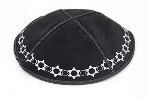 (The Dreidel Company Black Kippa Suede Kippah Leather Yarmulke Synagogue Star of David Design 16cm)