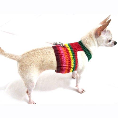 Rasta Bohemian Dog Harness Vest Collar Unique Handmade crochet by Myknitt DH4 Free Shipping (S)