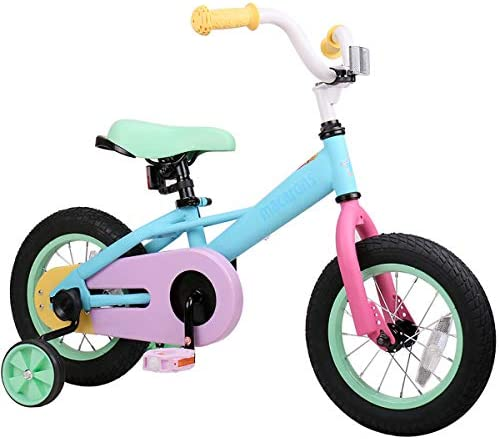JOYSTAR 12 14 Kids Bike for 2-5 Years Girls 33-41 inch Tall, Girls Bicycle with Training Wheels Coaster Brake, 85 Assembled, Macarons