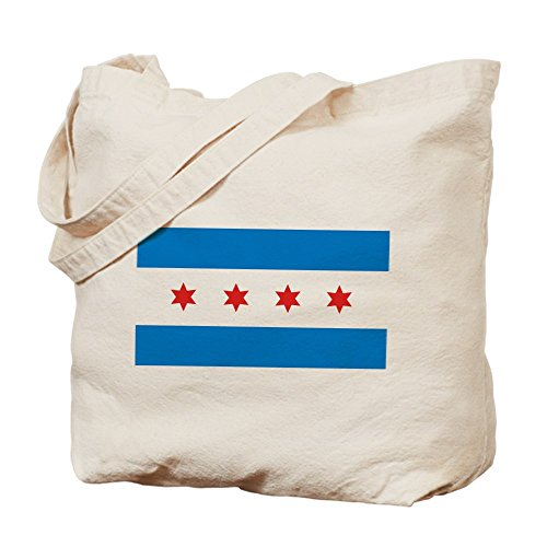 Cafepress – Chicago Flag – Borsa di tela naturale, tessuto in iuta