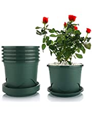 T4U Plant Pots with Saucers - Plastic Dark Green, Root-Control Nursery Seedling Planter Garden Flower Pot Container for Indoor Outdoor Bonsai Plants, Aloe, Herb