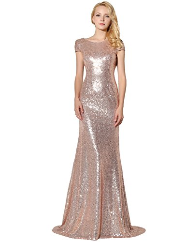 Belle House Long Mermaid Rose Gold Sequins Evening Dresses for Women Short Sleeve Prom Dresses 2018 Bridesmaid Dress Ball Gown - Rose Beaded Dress