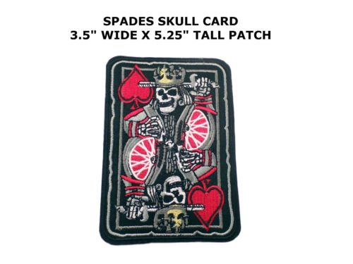ACE of SPADES EMBROIDERED PATCH SKULL DEATH GRIM
