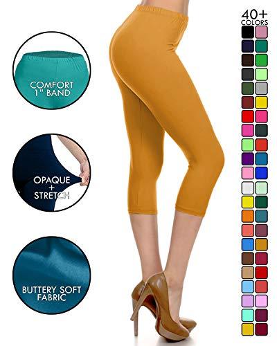 NCPR128-Mustard Capri Solid Leggings, One Size