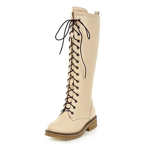 HAOLIEQUAN HAOLIEQUAN HAOLIEQUAN Größe 34-43 Frauen Kniehohe Stiefel Kreuzgurt Winterschuhe Quadratische Ferse Seitlichem Reißverschluss Weibliche Gladiator Schuhe 0516f0
