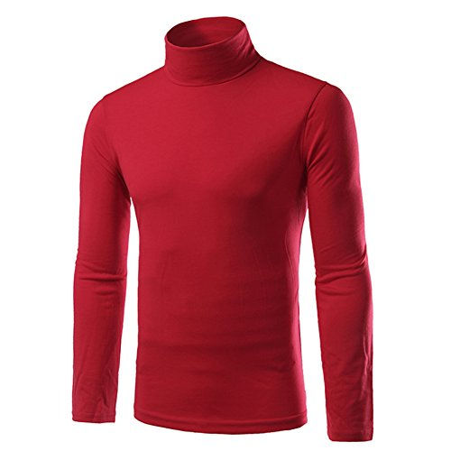 Chen Men Turtleneck Long Sleeves Slim Fit Pullover T-Shirts (US L/Tag XXL, Red) (Shirt Red Turtleneck)