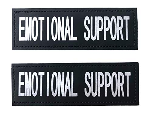 ALBCORP Reflective Emotional Support Patches with Hook Backing for Service Animal Vests/Harnesses Large (6 X 2) Inch