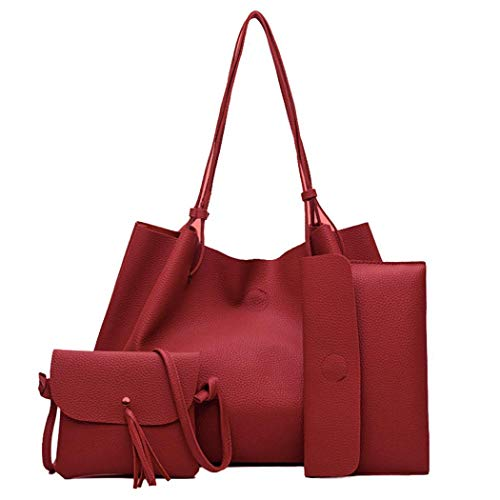 Tiowea Women Handbag Leather Shoulder Bag Travel Messenger Card Holder Clutch Set Shoulder Bags