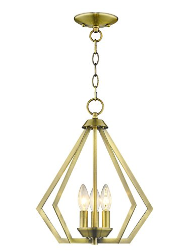 Livex Lighting 40923-01 Prism 3 Light AB Mini Chandelier/Ceiling Mount, Antique Brass - Brass 3 Light Chandelier