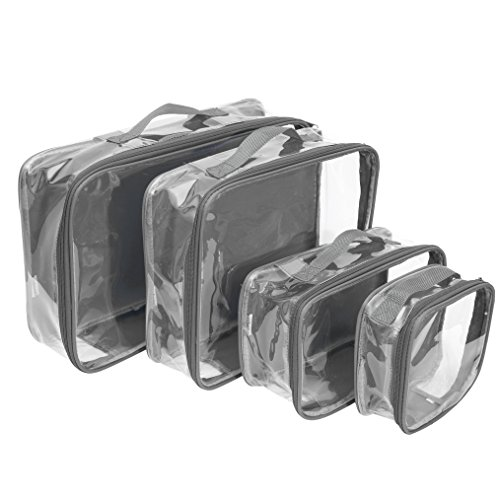 Small Clear Cube - Clear Packing Cubes set of 4 / Packs 7-10 Days of Clothes/Premium PVC Plastic Storage Cube (Gray)