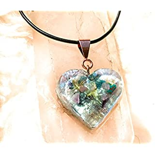 Fairy Crystals Orgonite Necklace / Heart Chakra / Orgone Pendant