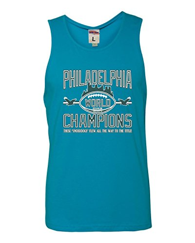 Sleeveless T-shirt Ringspun (X-Large Turquoise Adult Philadelphia World Champions Champs Sleeveless Tank Top Cotton T-Shirt)
