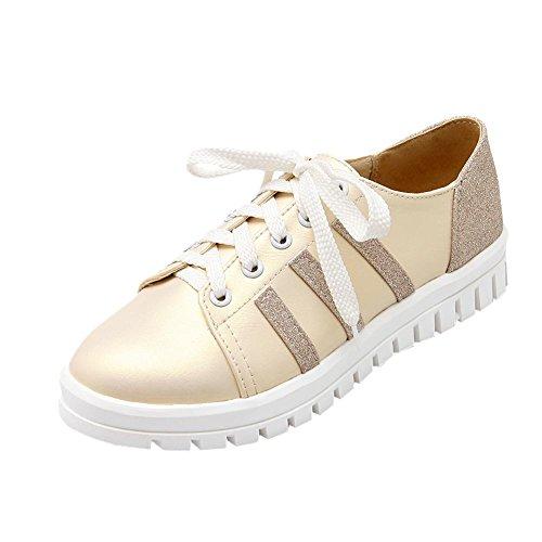 Latasa Damesmode Skate Schoenen, Fashion Sneakers, Lace Up Oxford Flats Schoenen Beige