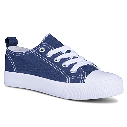 Next Shoes Kids ([SAV104-NAVY-10] Girls Canvas Sneakers - Navy Tennis Shoes, Toddler Size 10)