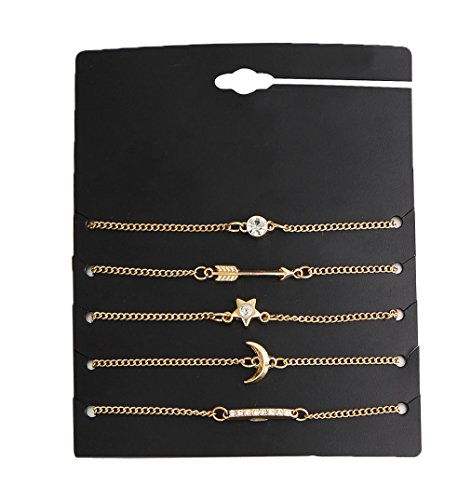 Eoumy Multi Chain Bracelets Arrow Crystal Star Moon Bar Charm Gold Bracelets Set for Women 5pcs ()
