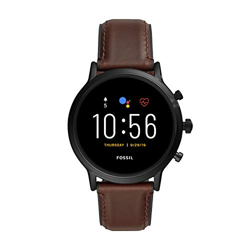 Fossil Gen 5 Carlyle HR Heart Rate Stainless Steel and Leather Touchscreen Smartwatch, Color: Black, Brown (Model: FTW4026)