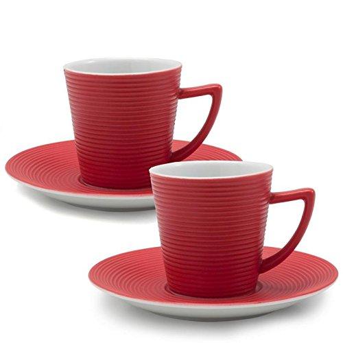 Bia Cordon Bleu Set of 2, 2oz Porcelain Espresso cups - Red