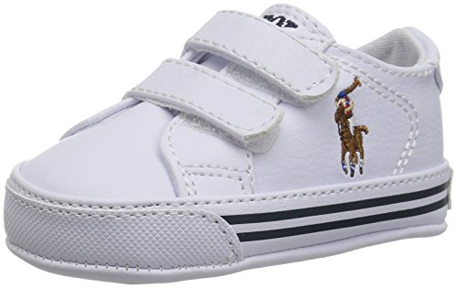 Layette Baby Ralph Lauren - Polo Ralph Lauren Kids Boys' Easten EZ Crib Shoe, White, 4 M US Infant