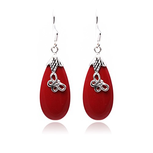 GEM-inside12x30mm Drip Manmade Red Coral Beads Marcasite Tibetan Silve Dangle Earrings Jewelry