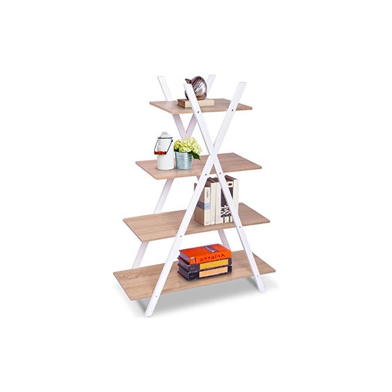 Giantex 4 Tier Bookshelf Shelves Ladder
