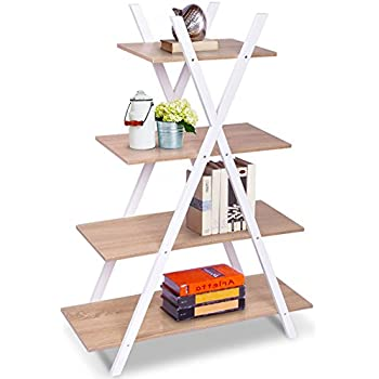 Giantex 4 Tier Bookshelf Shelves Ladder Home Office X Shape Storage Bookcase Display