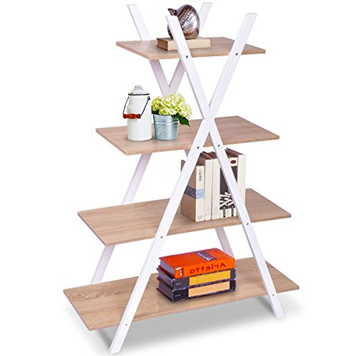 Giantex 4 Tier Bookshelf Storage Shelves Bookcase Ladder Shelf Home Office X-Shape Potted Plant or Flower Rack Display Shelves Easy Assembly (Natutal and White, 31.5