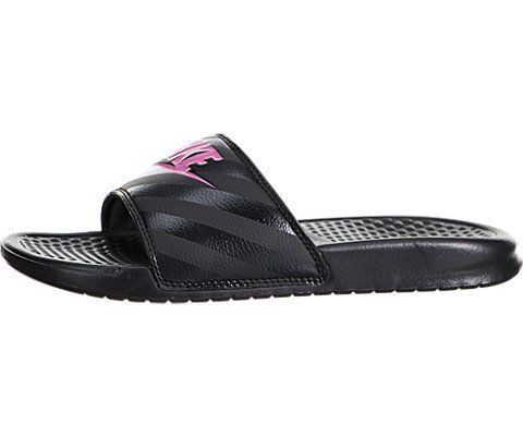 NIKE Women's Women's Benassi Just Do It Athletic Shoe, black/vivid pink -...