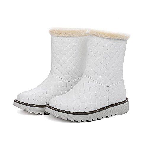 VogueZone009 Damen PU Niedriger Absatz Rund Zehe Ziehen auf Stiefel, Weiß, 36