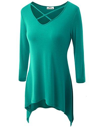 Zerdocean Women's Plus Size 3/4 Sleeve Crisscross V - Plus Size V Necks
