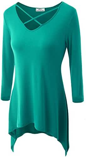 Zerdocean Women's Modal 3/4 Sleeve Crisscross V Neck Tunic Top (Plus Size Available)